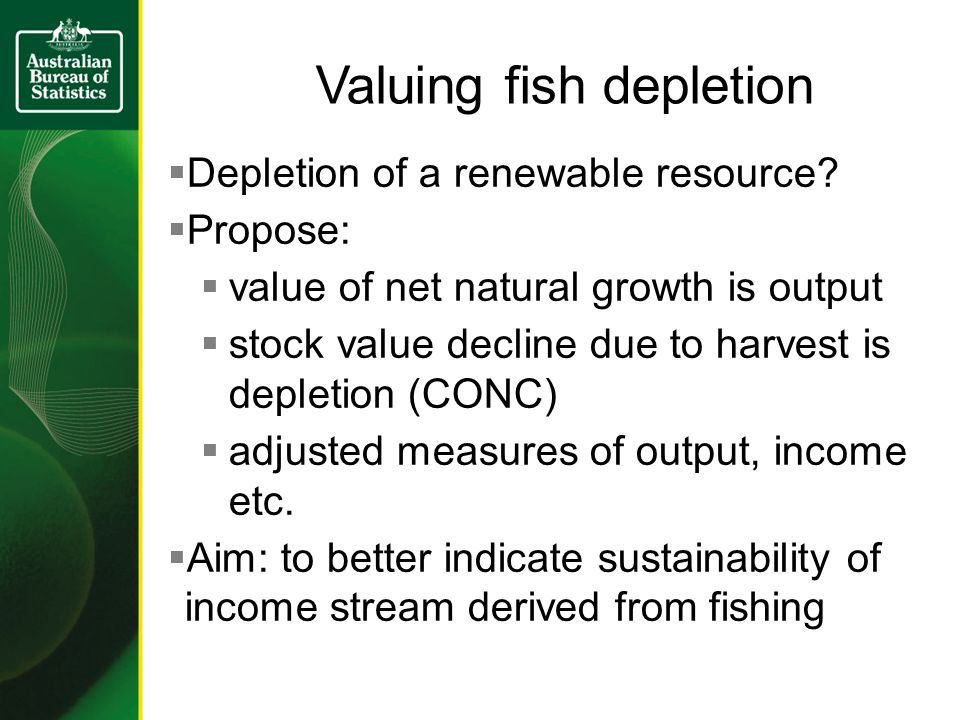 Valuing fish depletion Depletion of a renewable resource.
