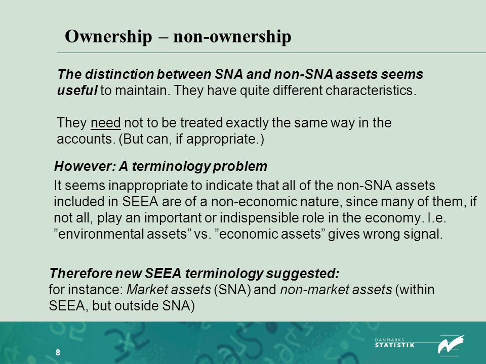8 However: A terminology problem It seems inappropriate to indicate that all of the non-SNA assets included in SEEA are of a non-economic nature, since many of them, if not all, play an important or indispensible role in the economy.