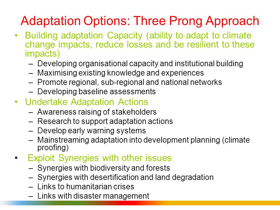 Adaptation Options: Three Prong Approach Building adaptation Capacity (ability to adapt to climate change impacts, reduce losses and be resilient to these impacts) –Developing organisational capacity and institutional building –Maximising existing knowledge and experiences –Promote regional, sub-regional and national networks –Developing baseline assessments Undertake Adaptation Actions –Awareness raising of stakeholders –Research to support adaptation actions –Develop early warning systems –Mainstreaming adaptation into development planning (climate proofing) Exploit Synergies with other issues –Synergies with biodiversity and forests –Synergies with desertification and land degradation –Links to humanitarian crises –Links with disaster management
