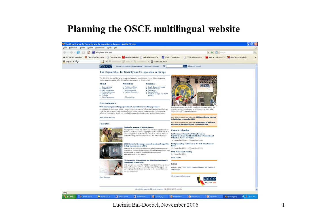 Lucinia Bal-Doebel, November 20061 Planning the OSCE multilingual website