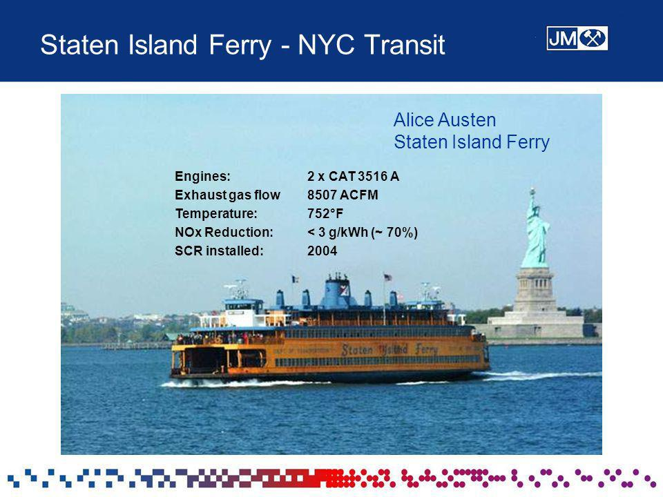 Staten Island Ferry - NYC Transit Engines: 2 x CAT 3516 A Exhaust gas flow 8507 ACFM Temperature: 752°F NOx Reduction:< 3 g/kWh (~ 70%) SCR installed:
