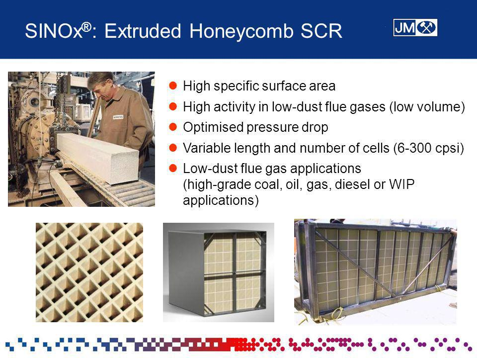 SINOx ® : Extruded Honeycomb SCR High specific surface area High activity in low-dust flue gases (low volume) Optimised pressure drop Variable length