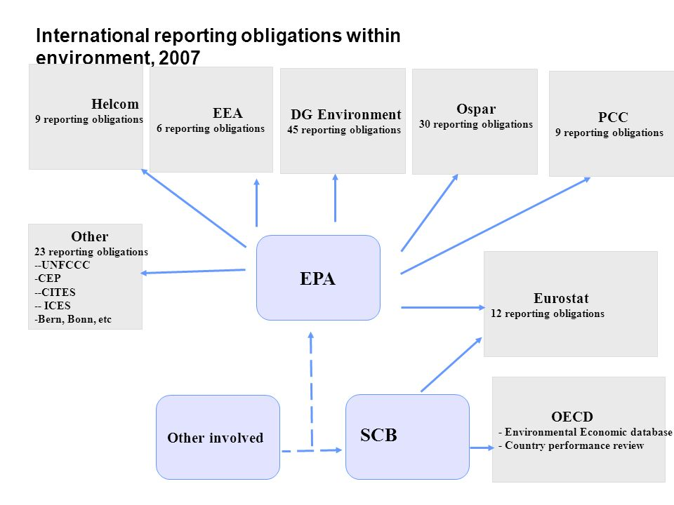 International reporting obligations within environment, 2007 SCB Eurostat 12 reporting obligations OECD - Environmental Economic database - Country pe