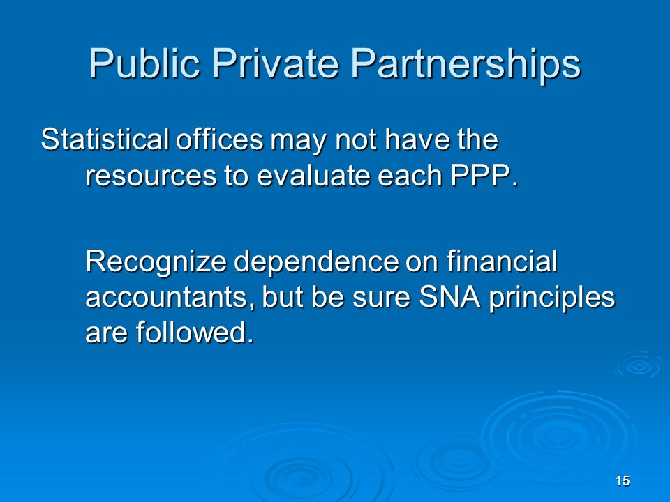 15 Public Private Partnerships Statistical offices may not have the resources to evaluate each PPP.