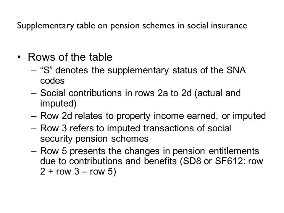 Supplementary table on pension schemes in social insurance Rows of the table –S denotes the supplementary status of the SNA codes –Social contributions in rows 2a to 2d (actual and imputed) –Row 2d relates to property income earned, or imputed –Row 3 refers to imputed transactions of social security pension schemes –Row 5 presents the changes in pension entitlements due to contributions and benefits (SD8 or SF612: row 2 + row 3 – row 5)