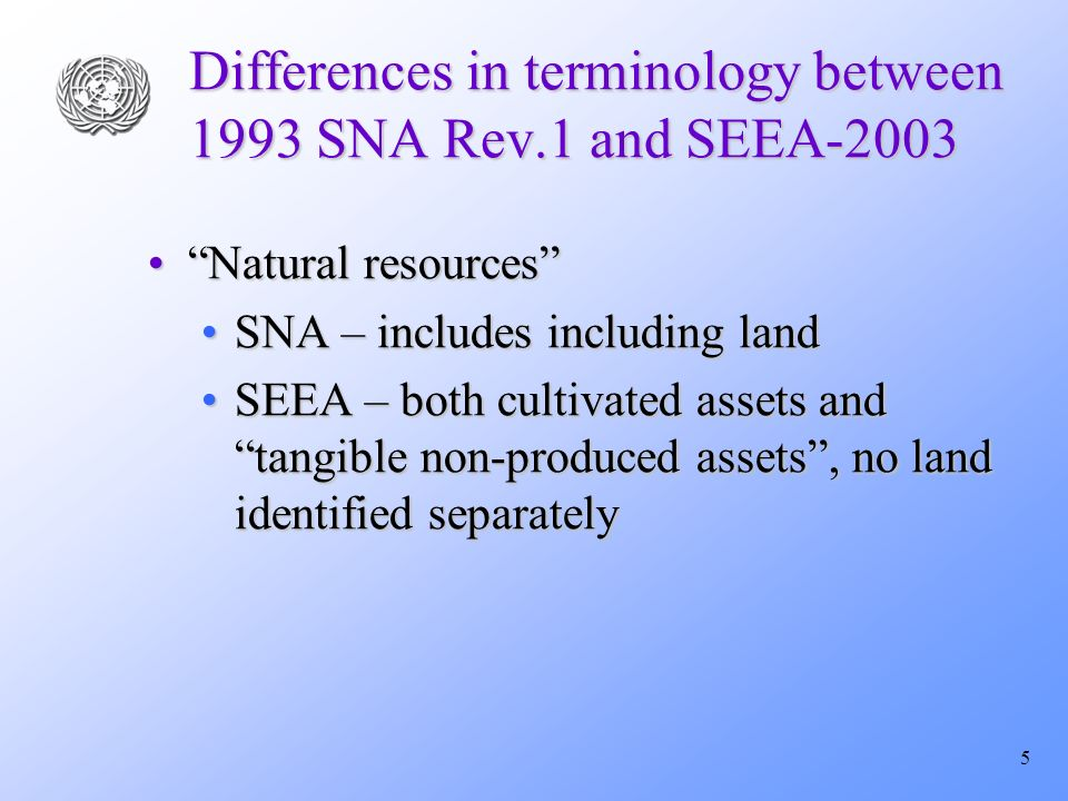 6 Differences – Mineral and energy TerminologyTerminology SNA: Subsoil,SNA: Subsoil, SEEA: Mineral and energySEEA: Mineral and energy SNA: Coal, oil, mineral gasSNA: Coal, oil, mineral gas SEEA: Fossil fuelsSEEA: Fossil fuels Definition of reservesDefinition of reserves Suggest to expand asset boundary to probable and possible?Suggest to expand asset boundary to probable and possible.