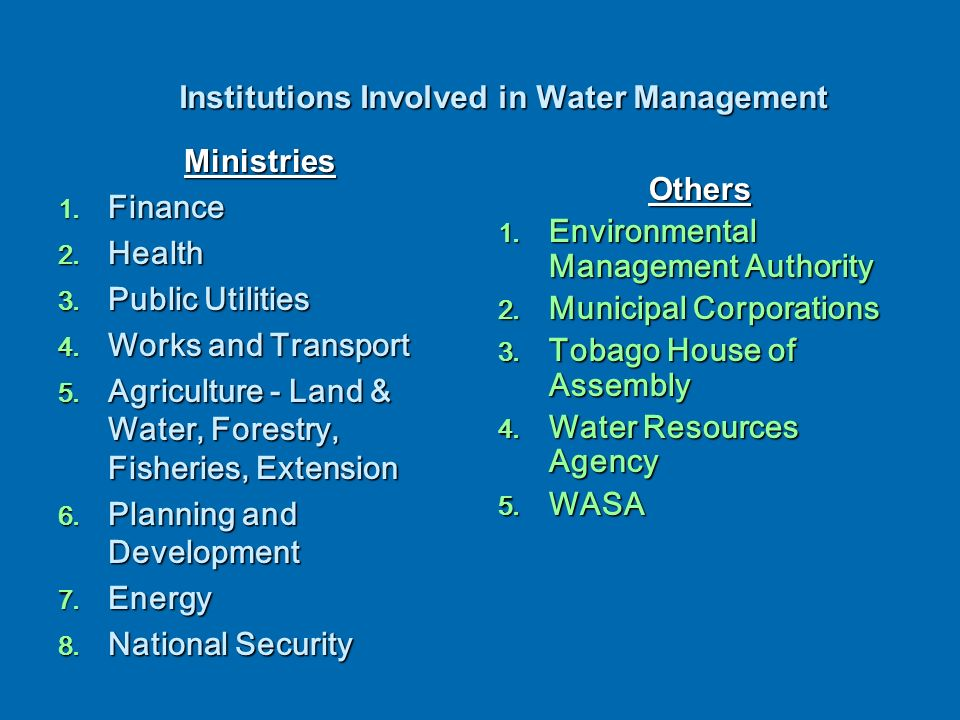 Recommended Allocation of WRM Functions -1992 Recommendations WR Policy and Strategy WR Assessment Water Demand Analysis Conservation (WR Sustainability) Master Planning And Allocation Pricing Of Water Legislation and Enforcement Demand Management (Efficient Use) WR Development and Distribution