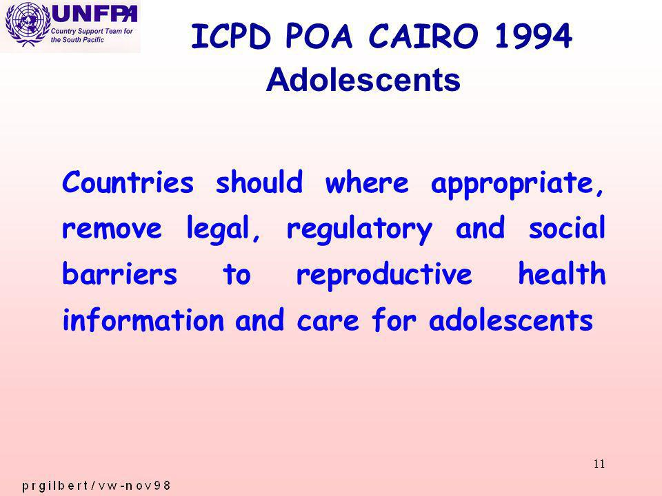 11 ICPD POA CAIRO 1994 Countries should where appropriate, remove legal, regulatory and social barriers to reproductive health information and care for adolescents Adolescents