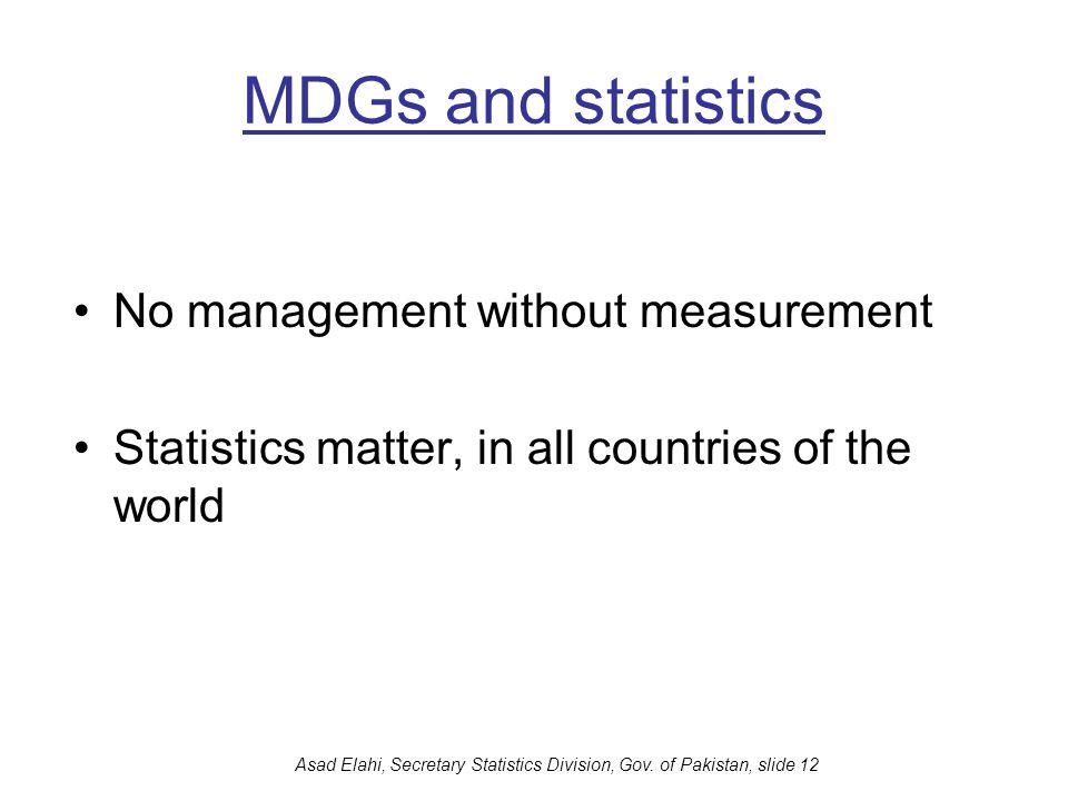 Asad Elahi, Secretary Statistics Division, Gov. of Pakistan, slide 12 MDGs and statistics No management without measurement Statistics matter, in all