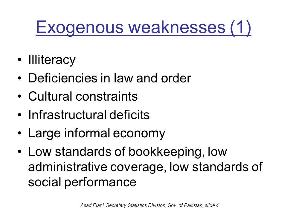 Asad Elahi, Secretary Statistics Division, Gov. of Pakistan, slide 4 Exogenous weaknesses (1) Illiteracy Deficiencies in law and order Cultural constr