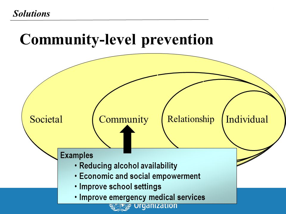 Community-level prevention Individual Relationship CommunitySocietal Solutions Examples Reducing alcohol availability Economic and social empowerment Improve school settings Improve emergency medical services