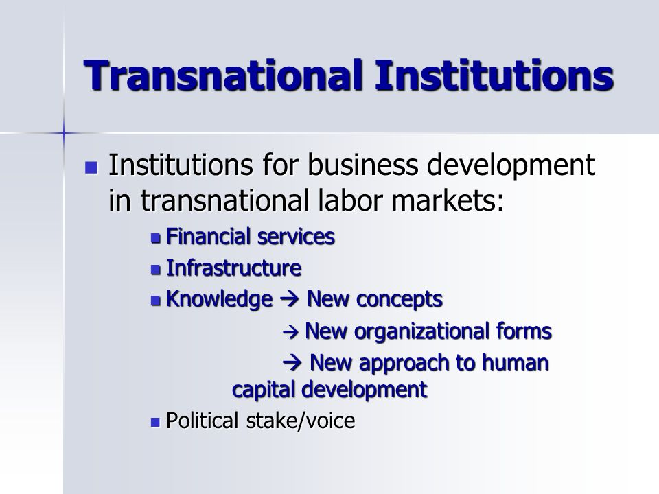Transnational Institutions Institutions for business development in transnational labor markets: Institutions for business development in transnational labor markets: Financial services Financial services Infrastructure Infrastructure Knowledge New concepts Knowledge New concepts New organizational forms New organizational forms New approach to human capital development New approach to human capital development Political stake/voice Political stake/voice