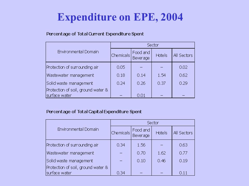 Expenditure on EPE, 2004