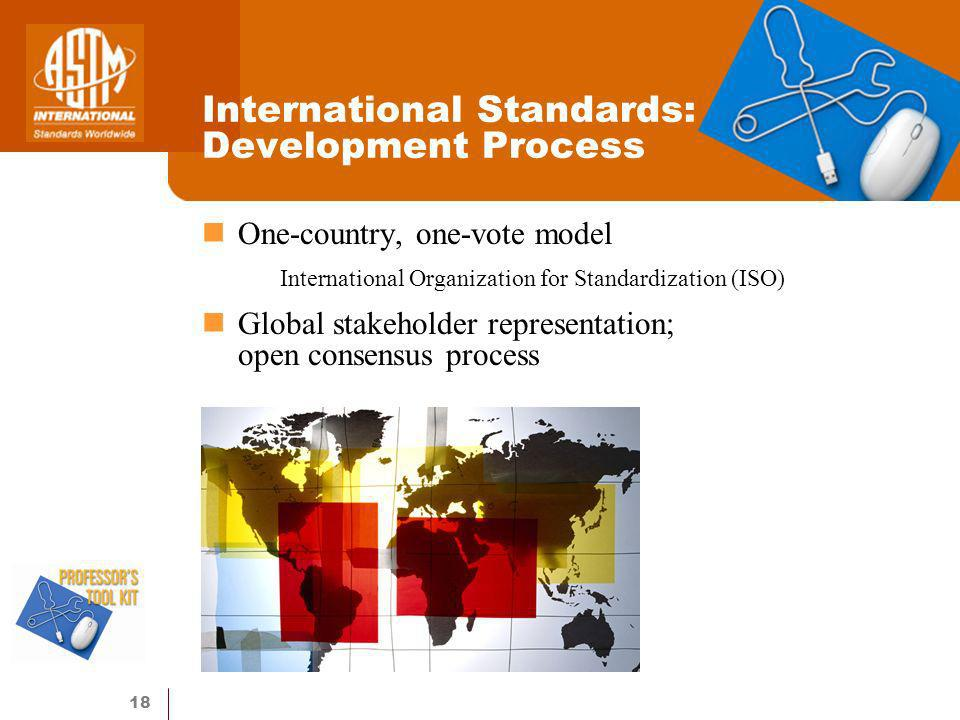 18 International Standards: Development Process One-country, one-vote model International Organization for Standardization (ISO) Global stakeholder representation; open consensus process
