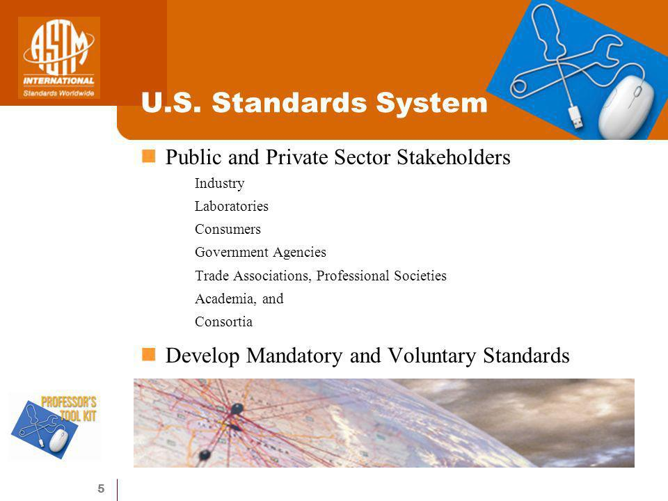5 U.S. Standards System Public and Private Sector Stakeholders Industry Laboratories Consumers Government Agencies Trade Associations, Professional So