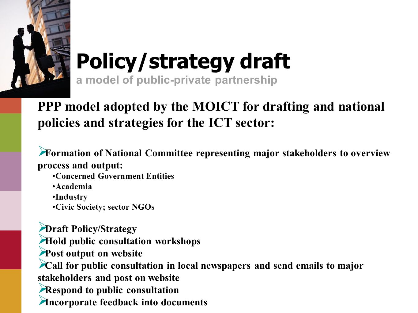 Policy/strategy draft a model of public-private partnership PPP model adopted by the MOICT for drafting and national policies and strategies for the ICT sector: Formation of National Committee representing major stakeholders to overview process and output: Concerned Government Entities Academia Industry Civic Society; sector NGOs Draft Policy/Strategy Hold public consultation workshops Post output on website Call for public consultation in local newspapers and send emails to major stakeholders and post on website Respond to public consultation Incorporate feedback into documents
