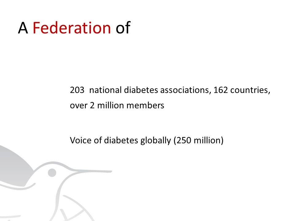 International Diabetes Federation Since 1950 Associated with the United Nations Department of Public Information In official relations with the World Health Organization and Pan-American Health Organization IDF championed the UN Resolution on Diabetes (UN Resolution 61/225)