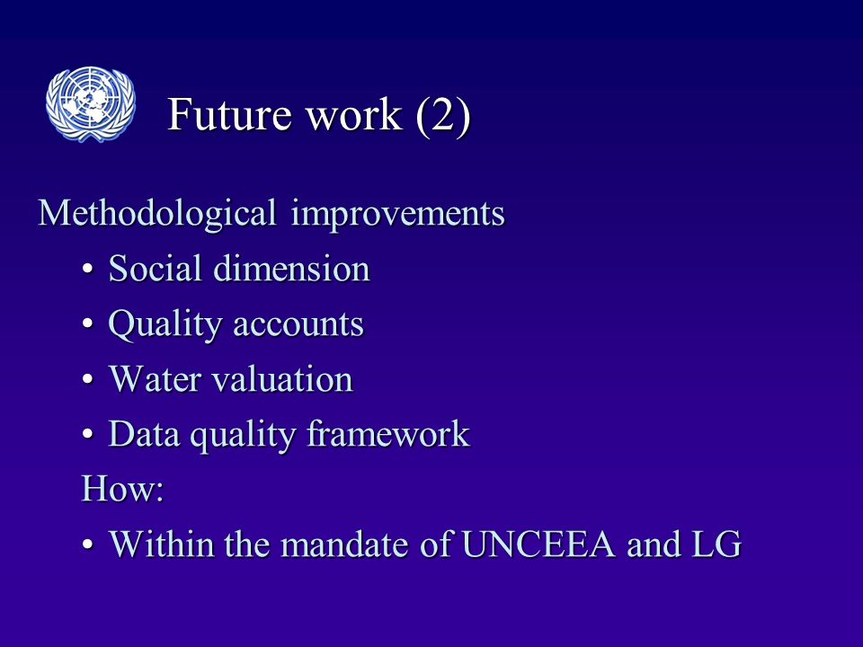Future work (2) Methodological improvements Social dimensionSocial dimension Quality accountsQuality accounts Water valuationWater valuation Data quality frameworkData quality frameworkHow: Within the mandate of UNCEEA and LGWithin the mandate of UNCEEA and LG