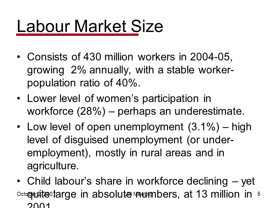 October 2, 2007UN Meeting5 Labour Market Size Consists of 430 million workers in 2004-05, growing 2% annually, with a stable worker- population ratio of 40%.