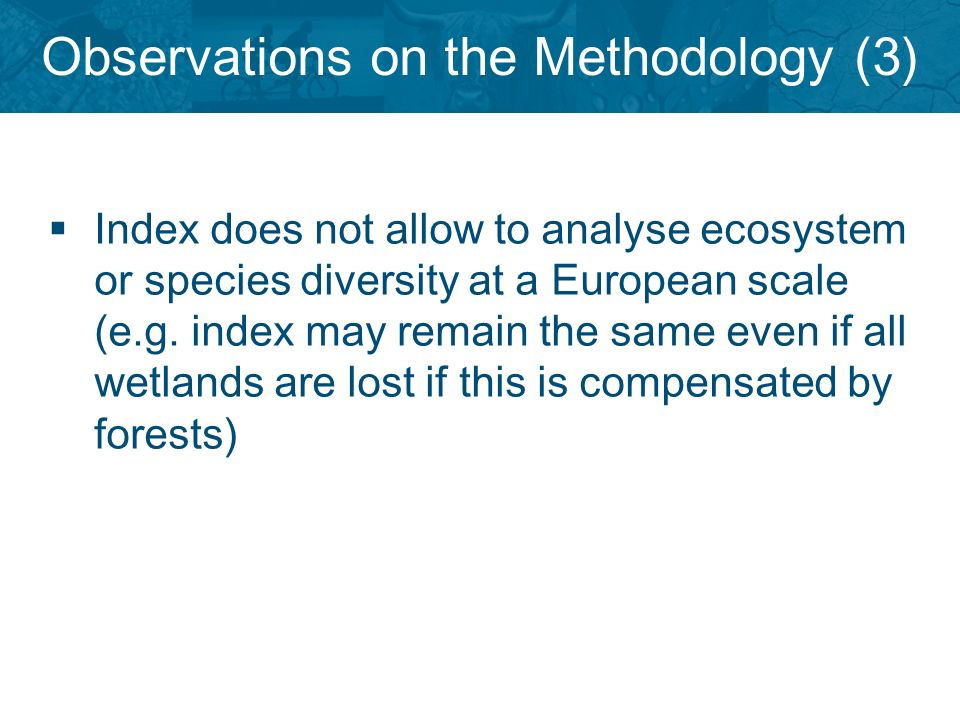 Observations on the Methodology (3) Index does not allow to analyse ecosystem or species diversity at a European scale (e.g.