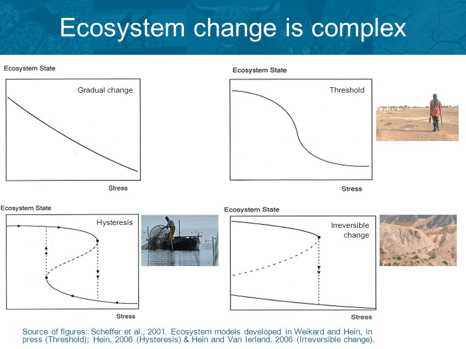 Ecosystem change is complex Source of figures: Scheffer et al., 2001. Ecosystem models developed in Weikard and Hein, in press (Threshold); Hein, 2006