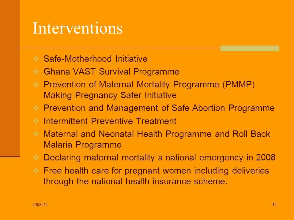 Interventions Safe-Motherhood Initiative Ghana VAST Survival Programme Prevention of Maternal Mortality Programme (PMMP) Making Pregnancy Safer Initia