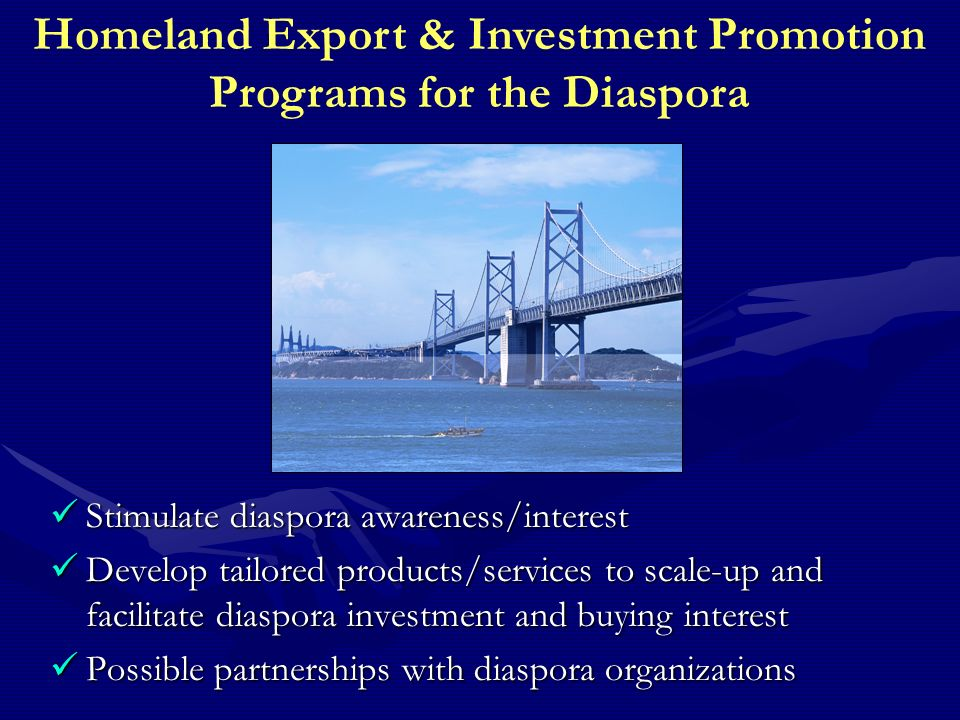Homeland Export & Investment Promotion Programs for the Diaspora Stimulate diaspora awareness/interest Stimulate diaspora awareness/interest Develop tailored products/services to scale-up and facilitate diaspora investment and buying interest Develop tailored products/services to scale-up and facilitate diaspora investment and buying interest Possible partnerships with diaspora organizations Possible partnerships with diaspora organizations