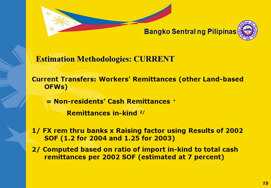 19 Bangko Sentral ng Pilipinas Current Transfers: Workers Remittances (other Land-based OFWs) = Non-residents Cash Remittances + Remittances in-kind 2
