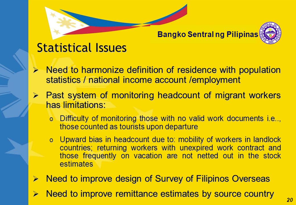 20 Bangko Sentral ng Pilipinas Need to harmonize definition of residence with population statistics / national income account /employment Need to harm