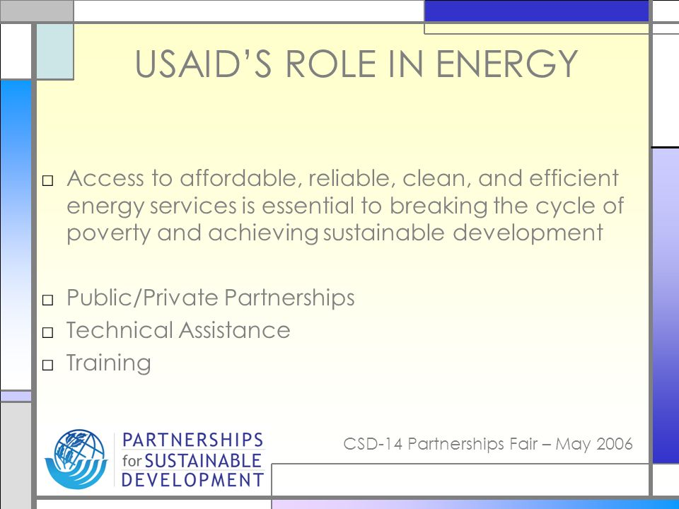 CSD-14 Partnerships Fair – May 2006 USAIDS ROLE IN ENERGY Access to affordable, reliable, clean, and efficient energy services is essential to breaking the cycle of poverty and achieving sustainable development Public/Private Partnerships Technical Assistance Training