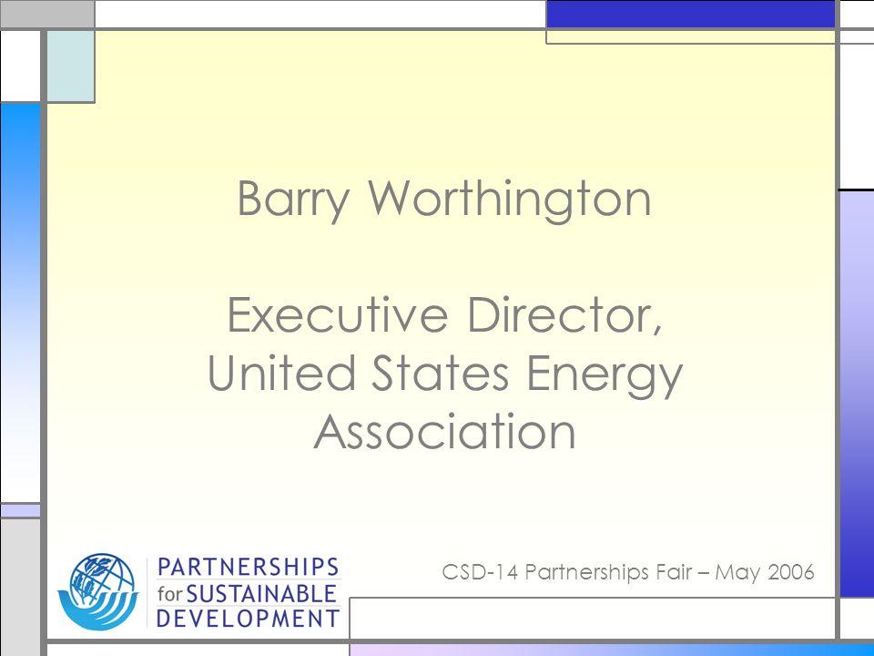 CSD-14 Partnerships Fair – May 2006 Barry Worthington Executive Director, United States Energy Association