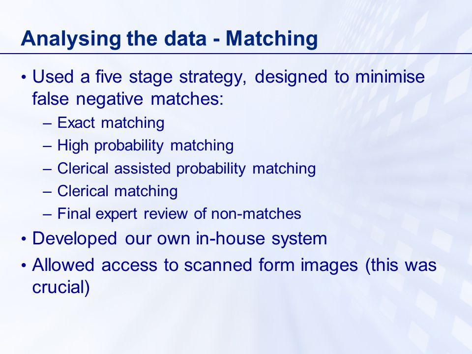Analysing the data - Matching Used a five stage strategy, designed to minimise false negative matches: –Exact matching –High probability matching –Clerical assisted probability matching –Clerical matching –Final expert review of non-matches Developed our own in-house system Allowed access to scanned form images (this was crucial)