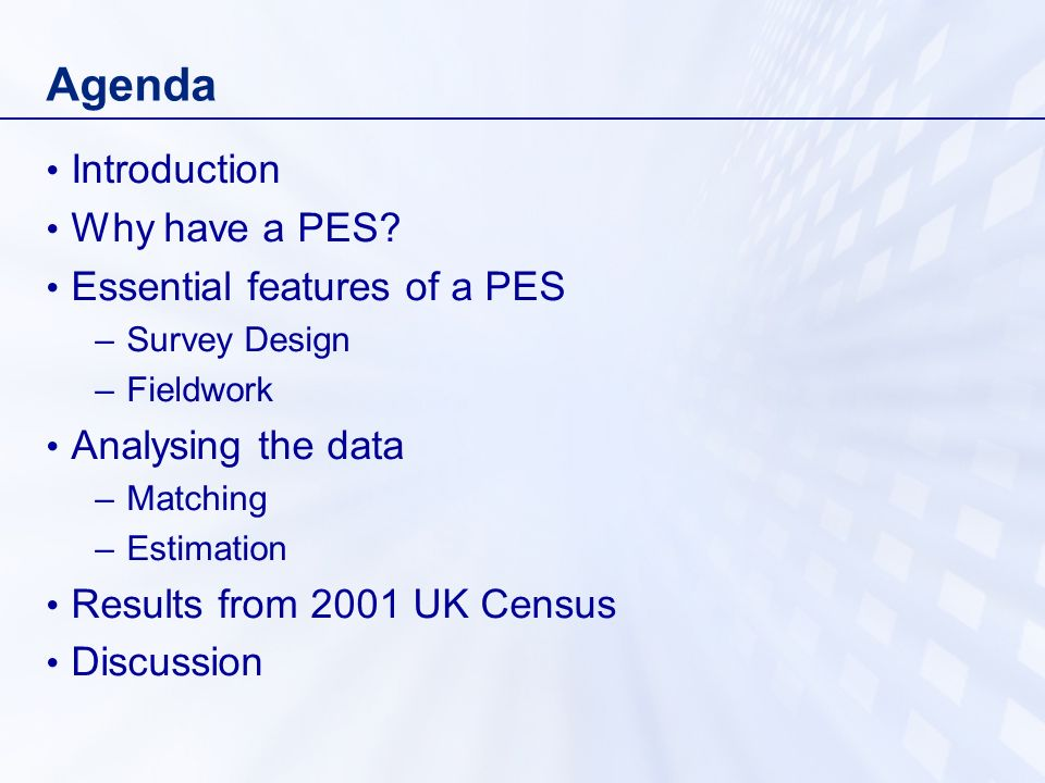 Agenda Introduction Why have a PES.