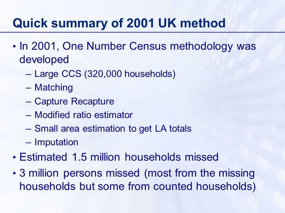 Quick summary of 2001 UK method In 2001, One Number Census methodology was developed –Large CCS (320,000 households) –Matching –Capture Recapture –Modified ratio estimator –Small area estimation to get LA totals –Imputation Estimated 1.5 million households missed 3 million persons missed (most from the missing households but some from counted households)