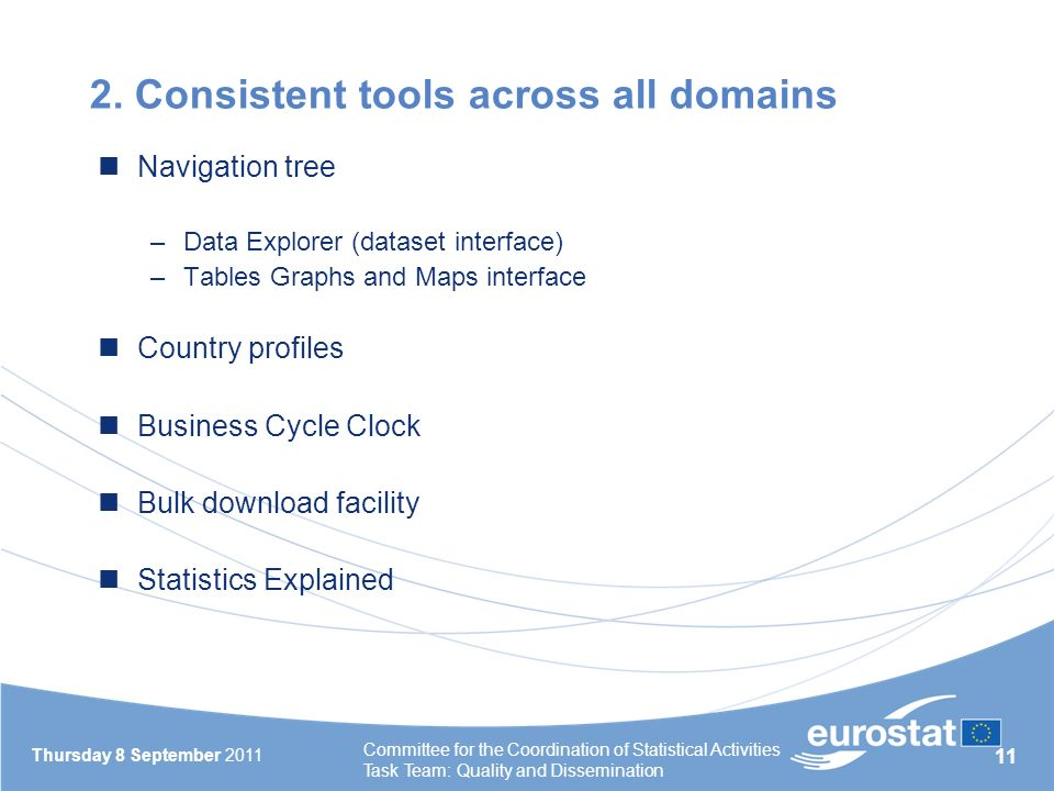 11 2. Consistent tools across all domains Navigation tree –Data Explorer (dataset interface) –Tables Graphs and Maps interface Country profiles Busine