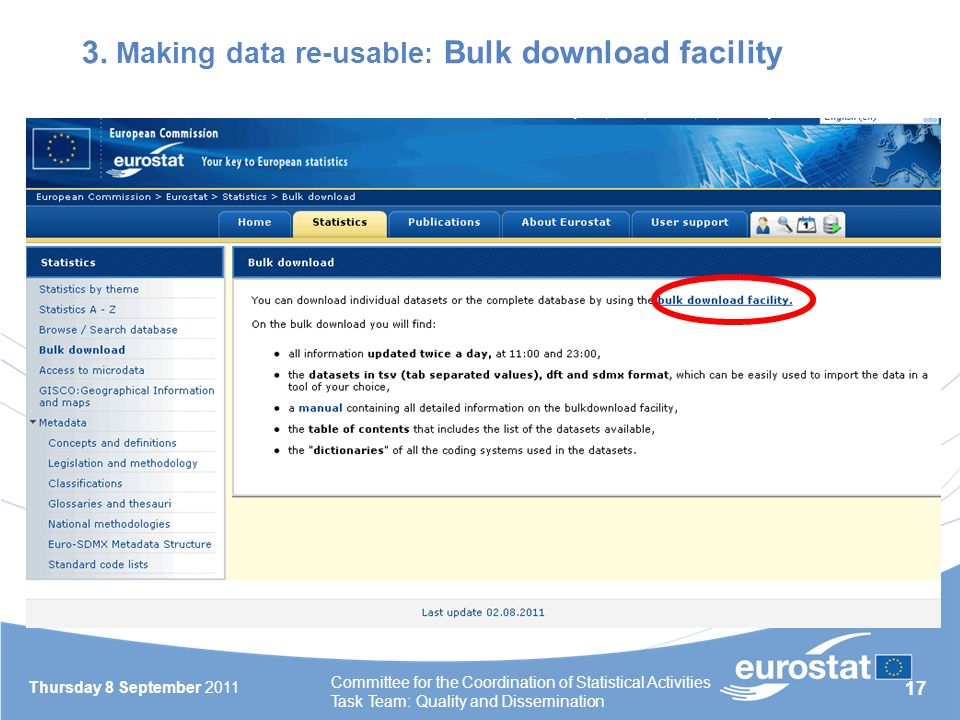 17 3. Making data re-usable : Bulk download facility Thursday 8 September 2011 Committee for the Coordination of Statistical Activities Task Team: Qua