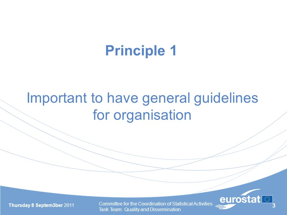 3 Thursday 8 Septem3ber 2011 Committee for the Coordination of Statistical Activities Task Team: Quality and Dissemination Principle 1 Important to have general guidelines for organisation