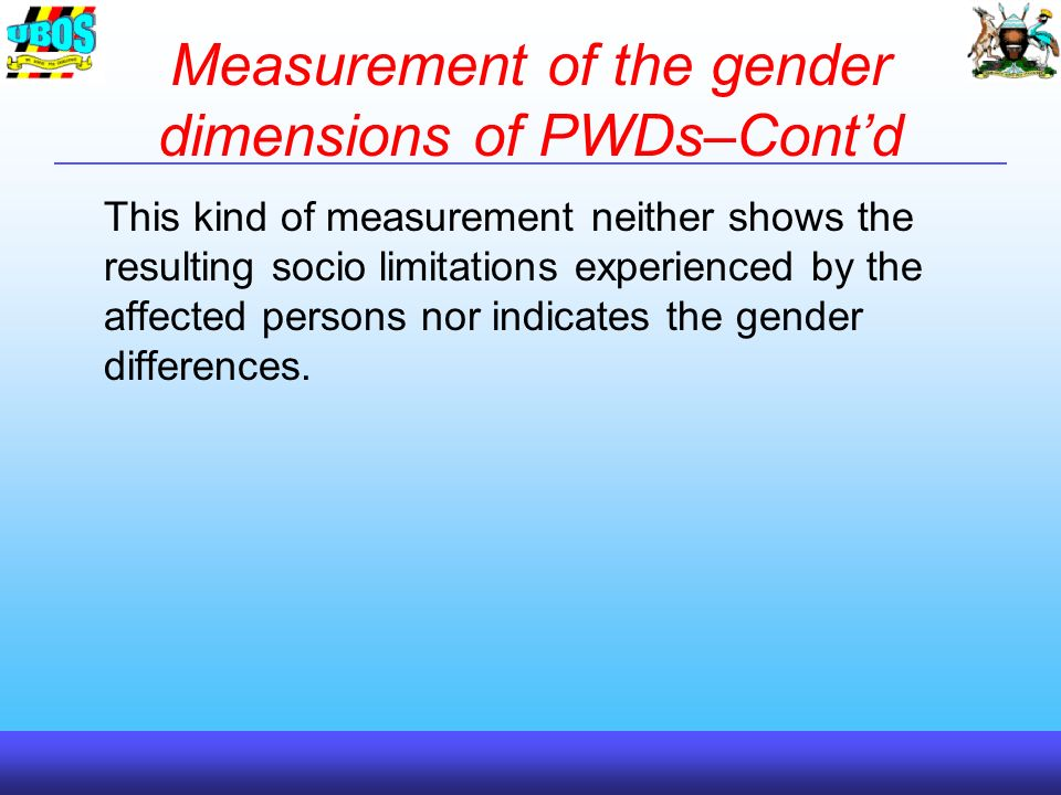 Measurement of the gender dimensions of PWDs–Contd This kind of measurement neither shows the resulting socio limitations experienced by the affected persons nor indicates the gender differences.