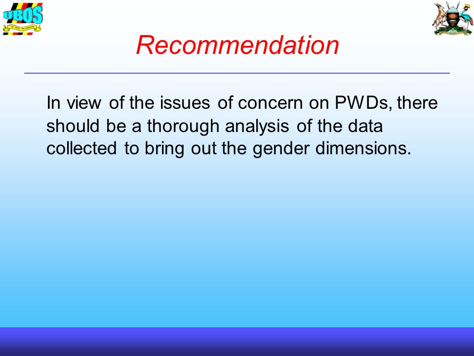 Recommendation In view of the issues of concern on PWDs, there should be a thorough analysis of the data collected to bring out the gender dimensions.