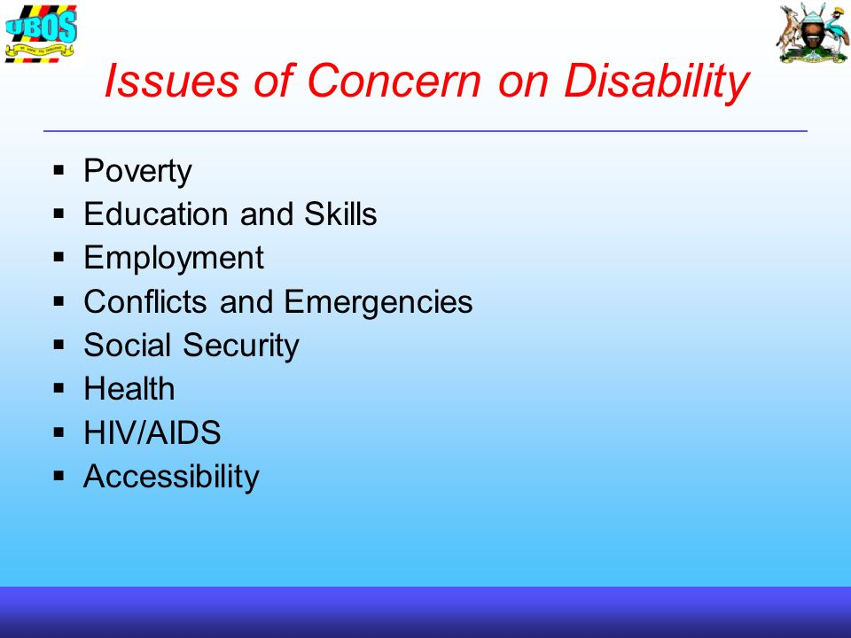 Issues of Concern on Disability Poverty Education and Skills Employment Conflicts and Emergencies Social Security Health HIV/AIDS Accessibility
