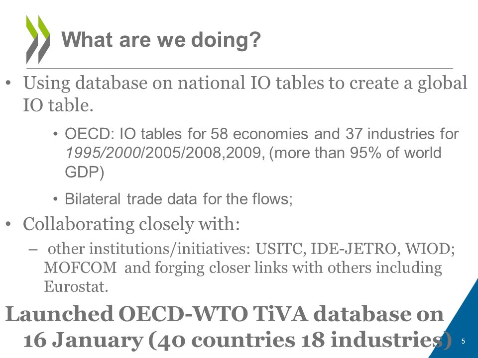 A work in progress Results are estimates designed to highlight 2 key issues –the need for policies to account for GVCs –the importance of capacity building and better statistics Improving data quality is essential –Coherent estimates of trade in goods and services –A new approach to Supply-Use Tables.