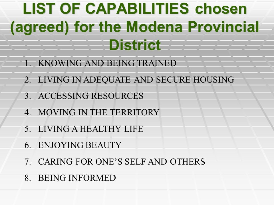 CAPABILITIES KNOWI NG LIVING ADEQ.HOUS.
