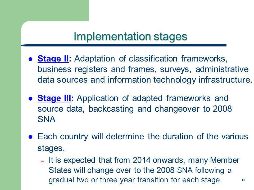 10 Implementation stages Stage II: Adaptation of classification frameworks, business registers and frames, surveys, administrative data sources and information technology infrastructure.