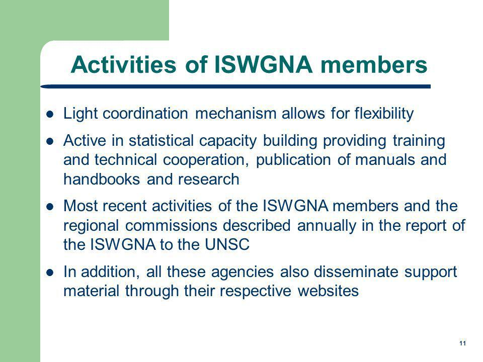 11 Activities of ISWGNA members Light coordination mechanism allows for flexibility Active in statistical capacity building providing training and technical cooperation, publication of manuals and handbooks and research Most recent activities of the ISWGNA members and the regional commissions described annually in the report of the ISWGNA to the UNSC In addition, all these agencies also disseminate support material through their respective websites