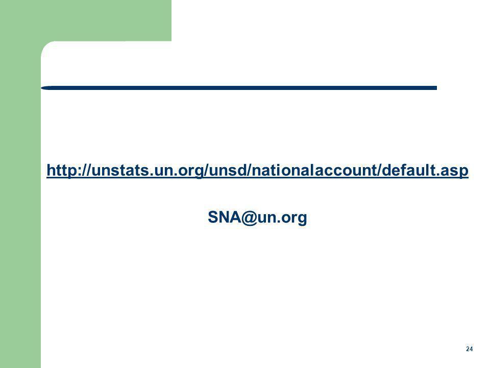 24 http://unstats.un.org/unsd/nationalaccount/default.asp SNA@un.org