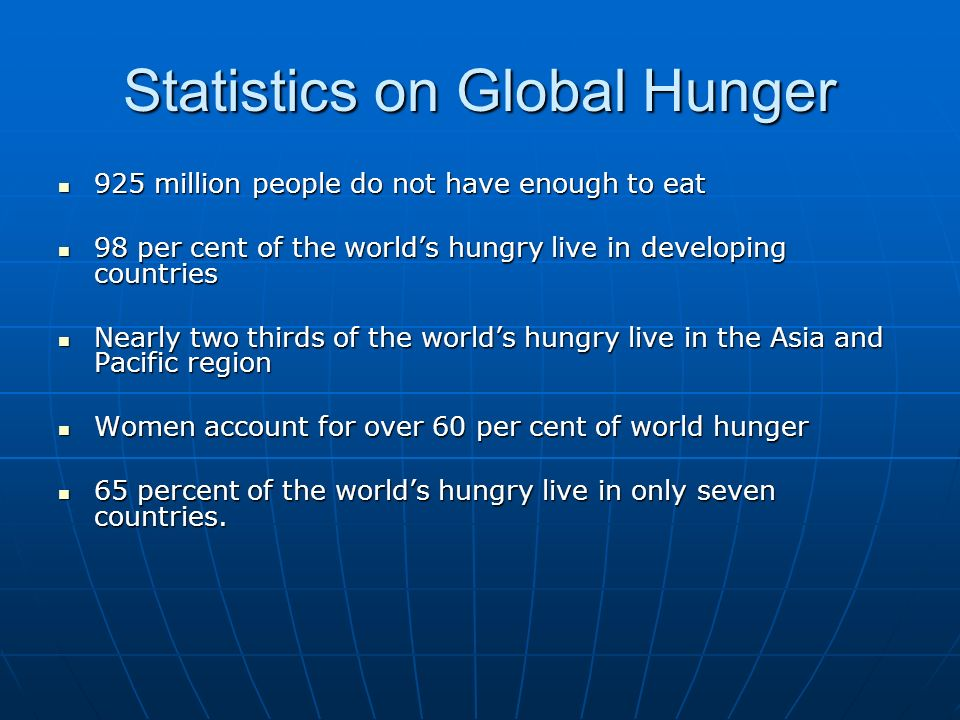 Statistics on Global Hunger 925 million people do not have enough to eat 925 million people do not have enough to eat 98 per cent of the worlds hungry live in developing countries 98 per cent of the worlds hungry live in developing countries Nearly two thirds of the worlds hungry live in the Asia and Pacific region Nearly two thirds of the worlds hungry live in the Asia and Pacific region Women account for over 60 per cent of world hunger Women account for over 60 per cent of world hunger 65 percent of the worlds hungry live in only seven countries.
