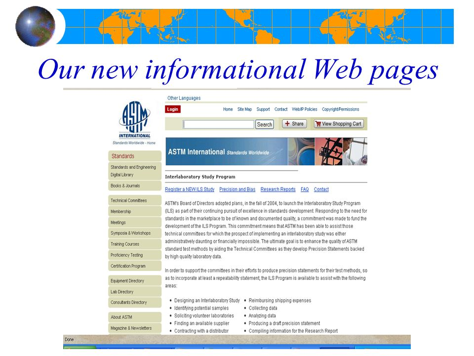 Our new informational Web pages