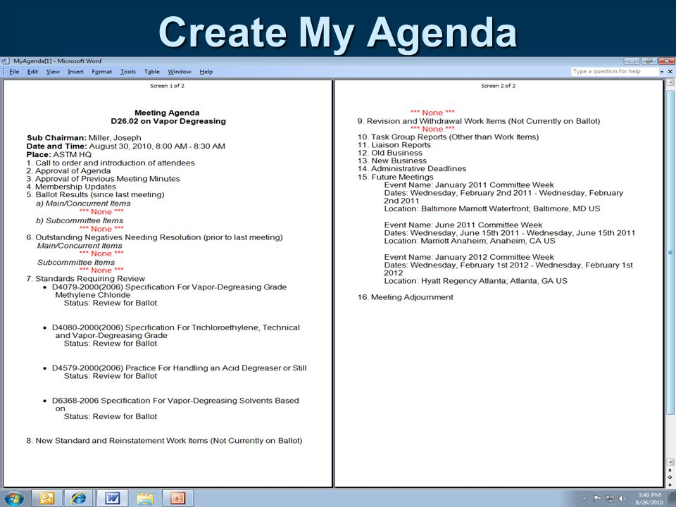 Create My Agenda