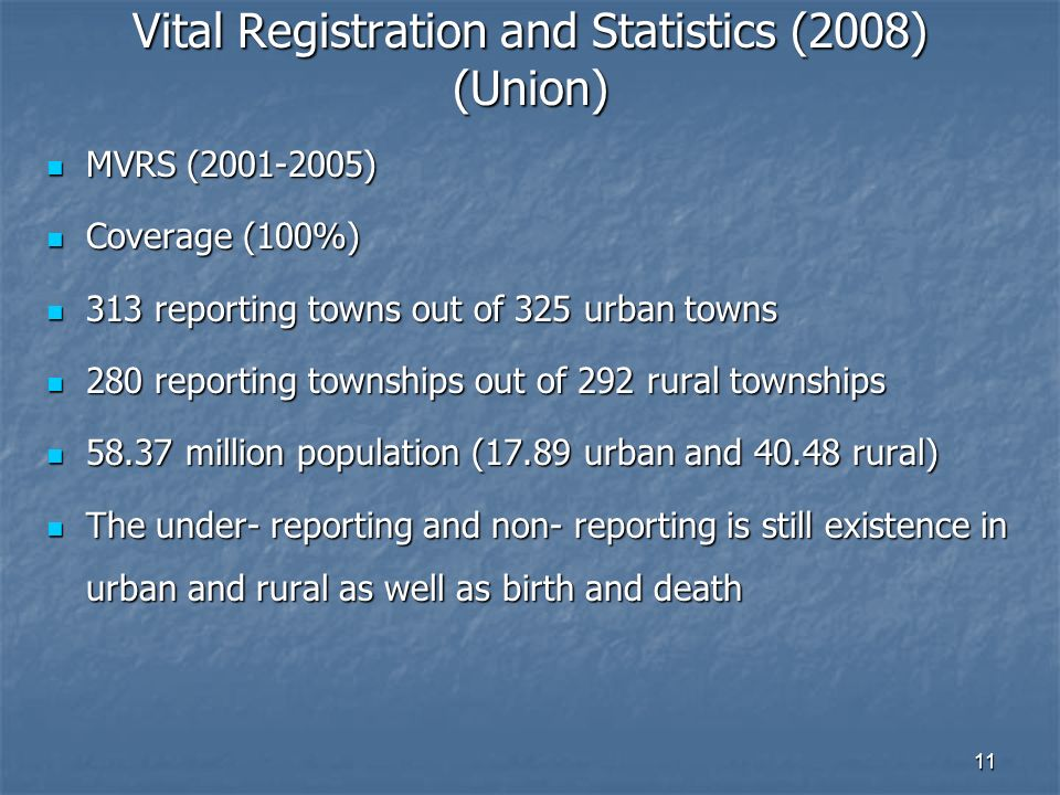 11 Vital Registration and Statistics (2008) (Union) MVRS (2001-2005) MVRS (2001-2005) Coverage (100%) Coverage (100%) 313 reporting towns out of 325 urban towns 313 reporting towns out of 325 urban towns 280 reporting townships out of 292 rural townships 280 reporting townships out of 292 rural townships 58.37 million population (17.89 urban and 40.48 rural) 58.37 million population (17.89 urban and 40.48 rural) The under- reporting and non- reporting is still existence in urban and rural as well as birth and death The under- reporting and non- reporting is still existence in urban and rural as well as birth and death