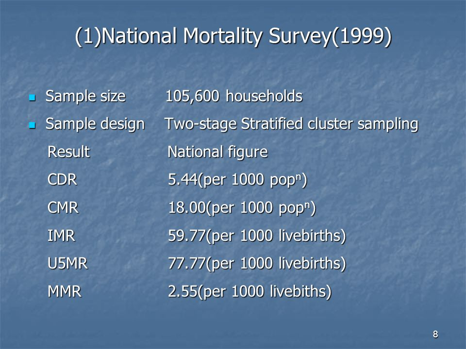 8 (1)National Mortality Survey(1999) Sample size 105,600 households Sample size 105,600 households Sample design Two-stage Stratified cluster sampling Sample design Two-stage Stratified cluster sampling Result National figure Result National figure CDR 5.44(per 1000 pop n ) CDR 5.44(per 1000 pop n ) CMR18.00(per 1000 pop n ) CMR18.00(per 1000 pop n ) IMR59.77(per 1000 livebirths) IMR59.77(per 1000 livebirths) U5MR77.77(per 1000 livebirths) U5MR77.77(per 1000 livebirths) MMR2.55(per 1000 livebiths) MMR2.55(per 1000 livebiths)